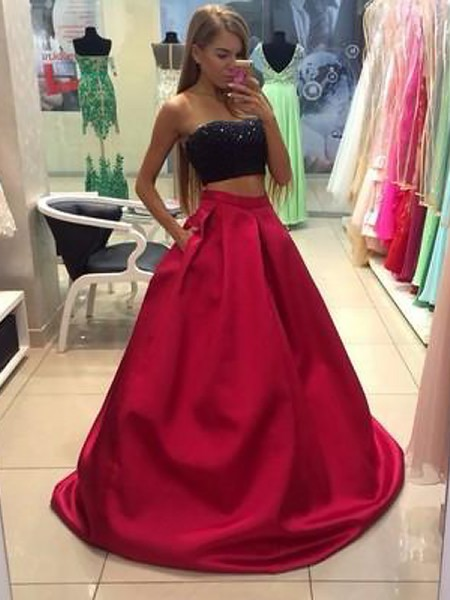 A-Line/Princess Strapless Floor-Length Beading Sleeveless Tulle Two Piece Dresses