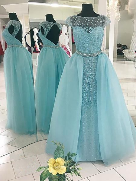 Ball Gown Bateau Beading Sleeveless Floor-Length Tulle Dresses