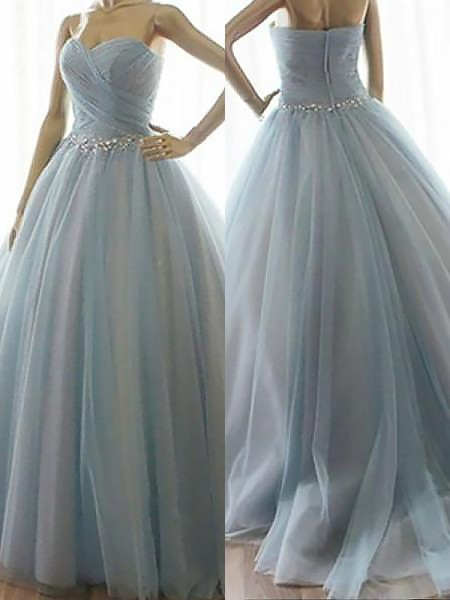 Ball Gown Sweetheart Beading Floor-Length Tulle Sleeveless Dresses