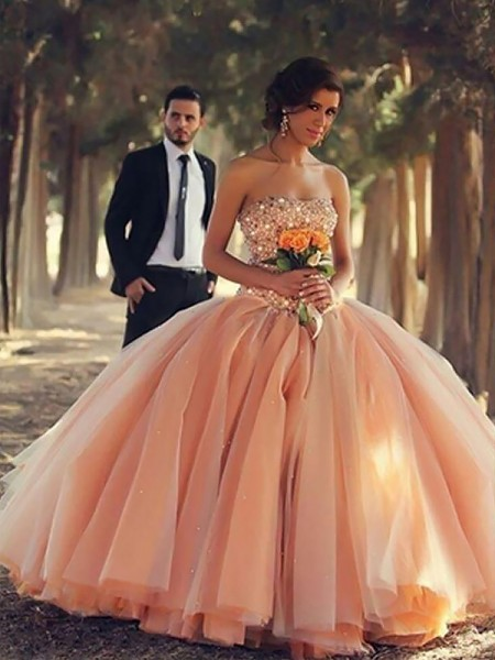 Ball Gown Strapless Beading Floor-Length Sleeveless Tulle Dresses