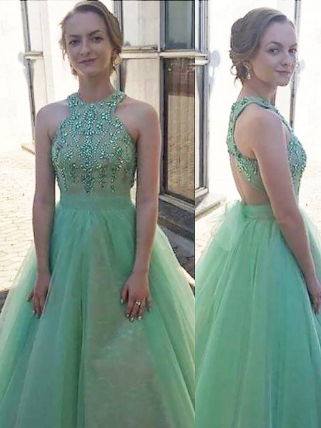 Ball Gown Beading Floor-Length Sleeveless Halter Tulle Dresses