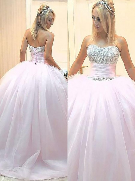 Ball Gown Sleeveless Floor-Length Sweetheart Beading Tulle Dresses