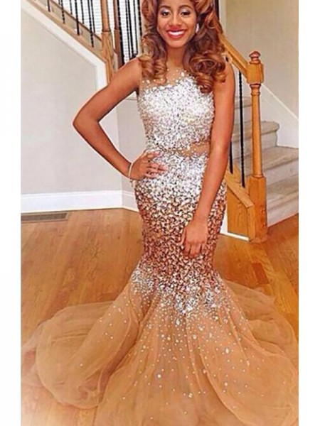 Trumpet/Mermaid Bateau Sleeveless Sweep/Brush Train Sequin Tulle Dresses