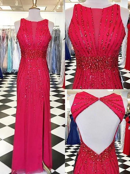 Sheath/Column Bateau Chiffon Sleeveless Beading Floor-Length Dresses