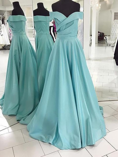 A-Line/Princess Sleeveless Sweep/Brush Train Off-the-Shoulder Ruched Satin Dresses