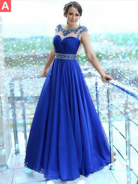 A-Line/Princess Chiffon Bateau Sleeveless Floor-Length Beading Dresses