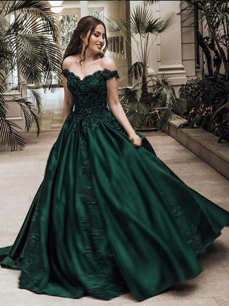 Ball Gown Sleeveless Floor-Length Lace Off-the-Shoulder Satin Dresses