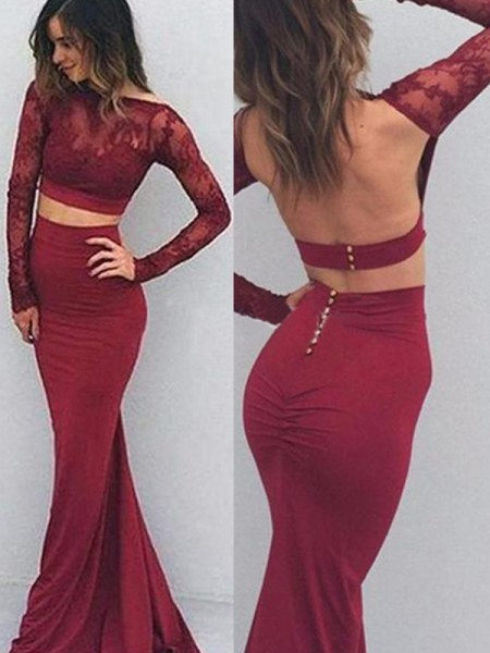 Trumpet/Mermaid Spandex Long Sleeves Floor-Length Applique Dresses