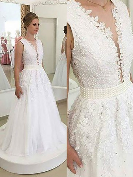 A-Line/Princess V-neck Applique Sleeveless Sweep/Brush Train Tulle Wedding Dresses