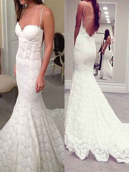 Trumpet/Mermaid Spaghetti Straps Court Train Lace Sleeveless Wedding Dresses
