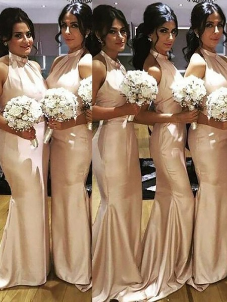 Trumpet/Mermaid Halter Sleeveless Floor-Length Satin Bridesmaid Dresses
