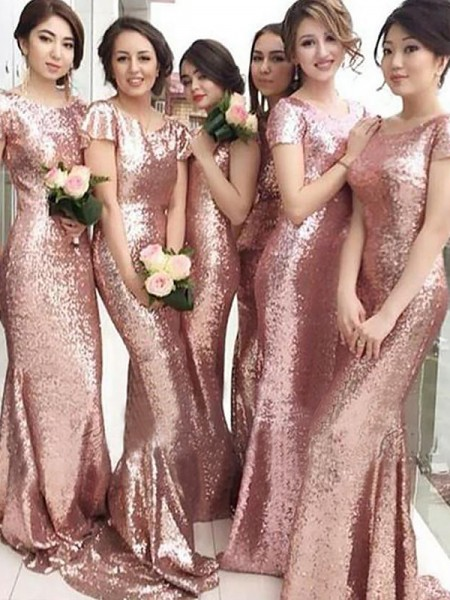 Sheath/Column Short Sleeves Sequins Scoop Sweep/Brush Train Bridesmaid Dresses