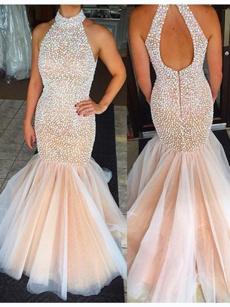 Trumpet/Mermaid Tulle Sleeveless Beading Sweep/Brush Train Dresses