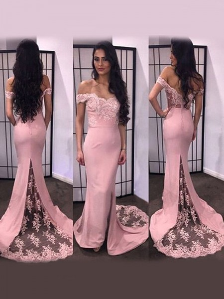 Trumpet/Mermaid Satin Long Sleeves Sweep/Brush Train Lace Dresses