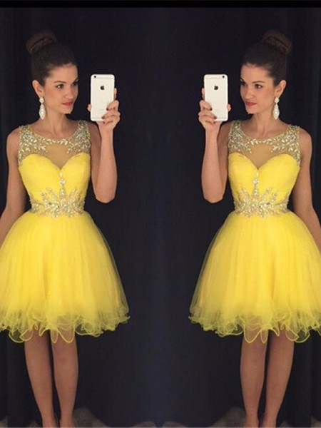 A-Line/Princess Tulle Sleeveless Short/Mini Beading Dresses