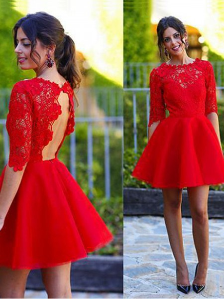 A-Line/Princess 1/2 Sleeves Lace Short/Mini Dresses