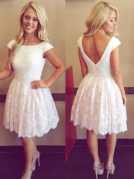A-Line/Princess Lace Pearls Short Sleeves Short/Mini Dresses