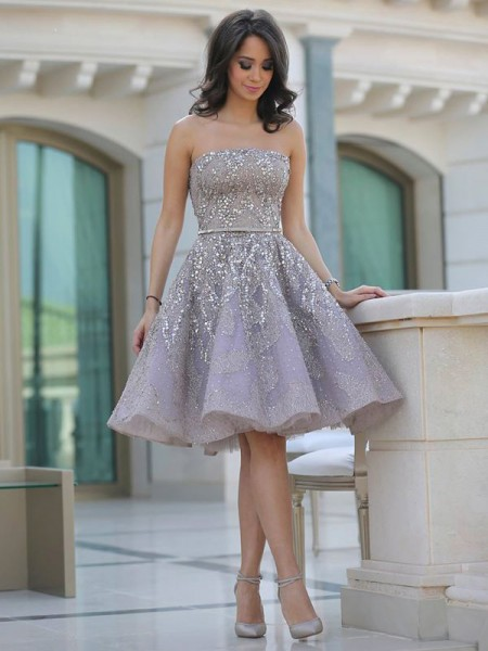 A-Line/Princess Satin Sequin Sleeveless Knee-Length Dresses