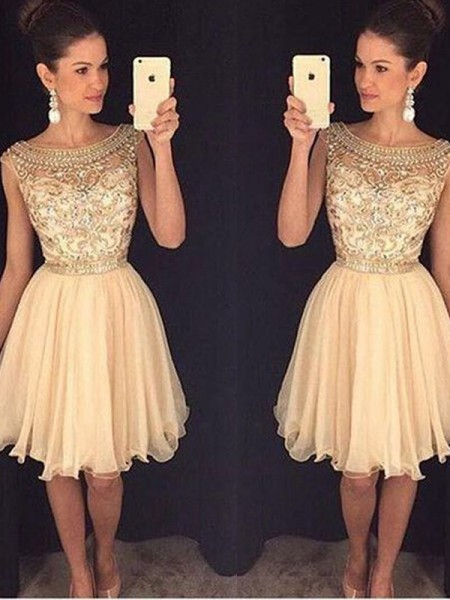 A-Line/Princess Chiffon Short/Mini Beading Sleeveless Dresses