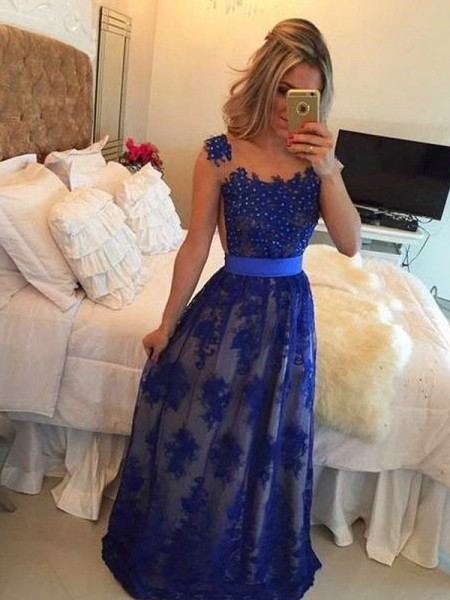 Sheath/Column Tulle Sleeveless Applique Floor-Length Dresses