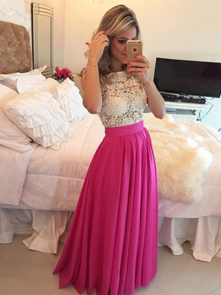 A-Line/Princess Chiffon Sleeveless Floor-Length Lace Dresses