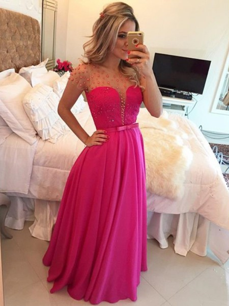 A-Line/Princess Chiffon Short Sleeves Beading Floor-Length Dresses