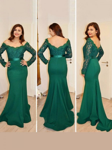 Trumpet/Mermaid Satin Applique Long Sleeves Floor-Length Dresses