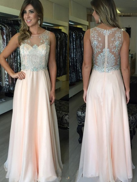 A-Line/Princess Chiffon Beading Sleeveless Floor-Length Dresses