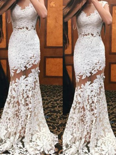 Trumpet/Mermaid Lace Sweep/Brush Train Sleeveless Dresses