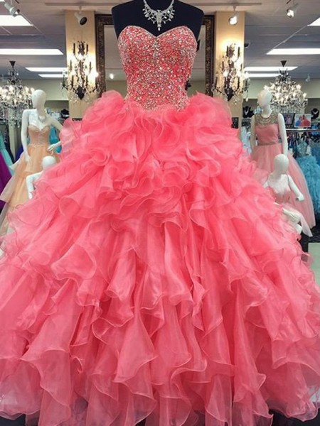 Ball Gown Organza Sleeveless Floor-Length Beading Dresses