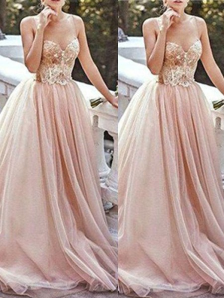 A-Line/Princess Tulle Sleeveless Beading Sweep/Brush Train Dresses