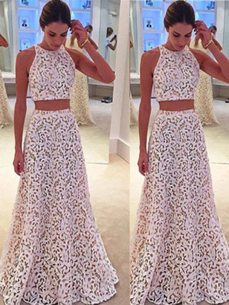 A-Line/Princess Lace Floor-Length Sleeveless Dresses