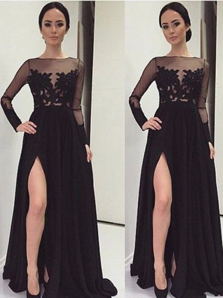 A-Line/Princess Long Sleeves Lace Chiffon Floor-Length Dresses