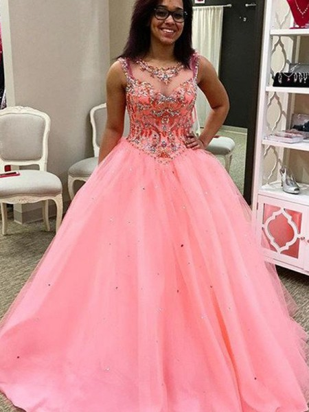 Ball Gown Tulle Floor-Length Beading Sleeveless Dresses