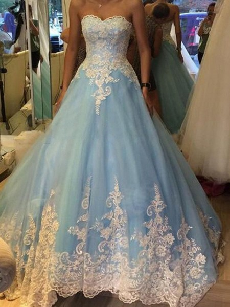 Ball Gown Tulle Sleeveless Applique Floor-Length Dresses