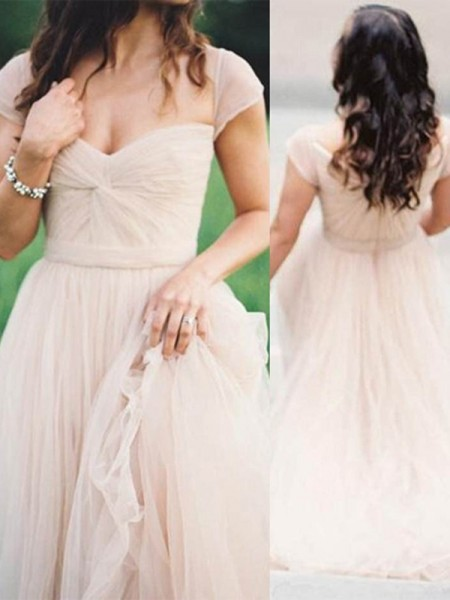 A-Line/Princess Chiffon Sleeveless Ruched Floor-Length Dresses