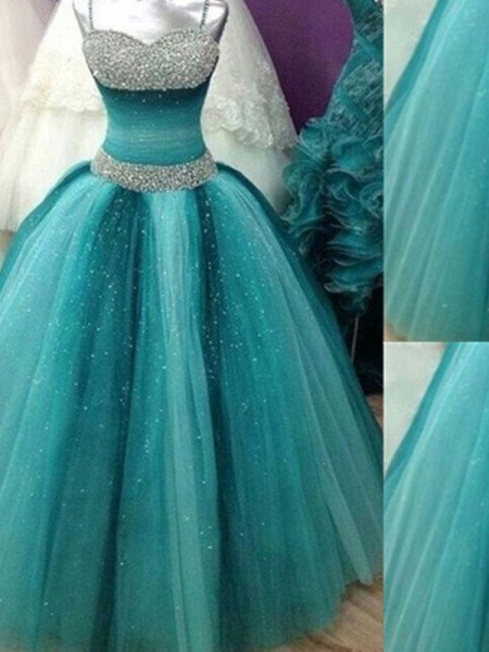 Ball Gown Tulle Sleeveless Beading Floor-Length Dresses