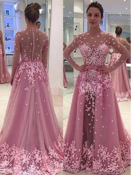 A-Line/Princess Tulle Long Sleeves Applique Floor-Length Dresses