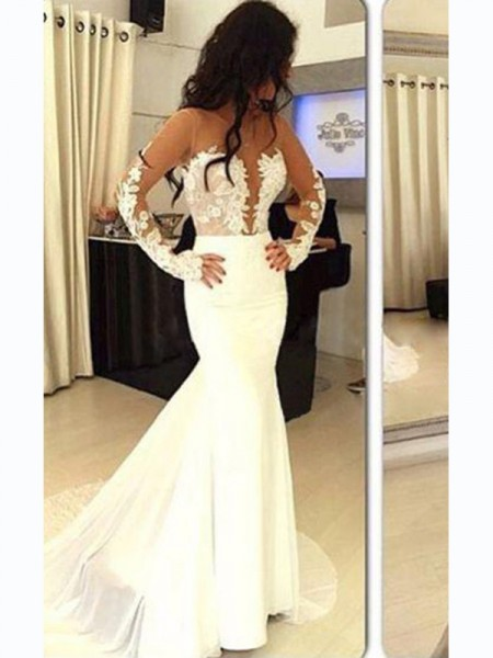 Trumpet/Mermaid Satin Long Sleeves Sweep/Brush Train Applique Dresses