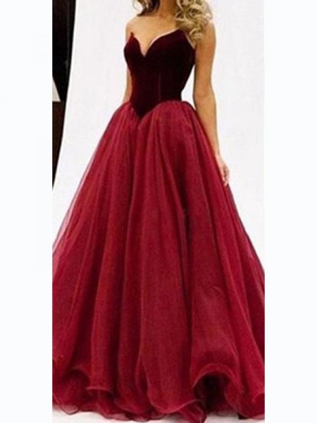 Ball Gown Tulle Sleeveless Floor-Length Dresses