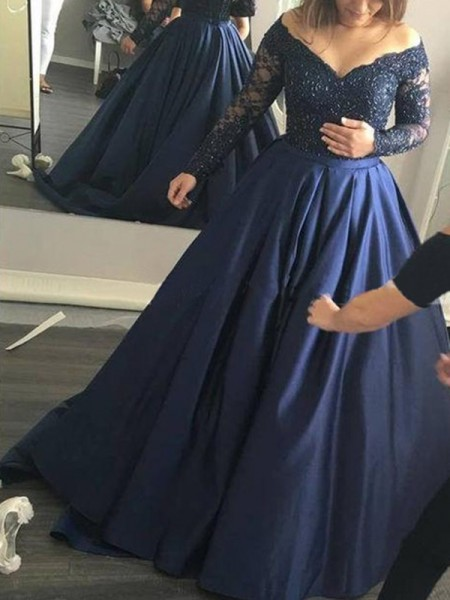 Ball Gown Satin Long Sleeves Beading Sweep/Brush Train Dresses