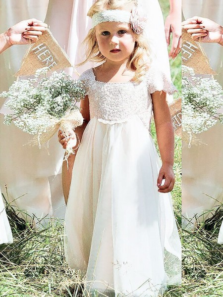 A-Line/Princess Chiffon Lace Square Short Sleeves Floor-Length Flower Girl Dresses