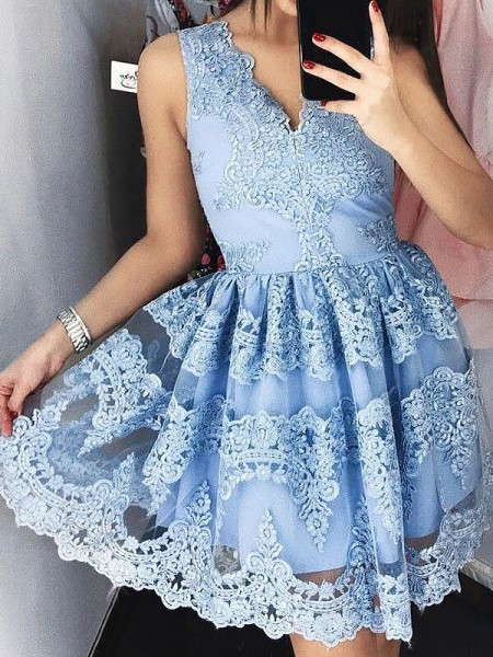 A-Line/Princess Lace V-neck Sleeveless Short/Mini Dresses