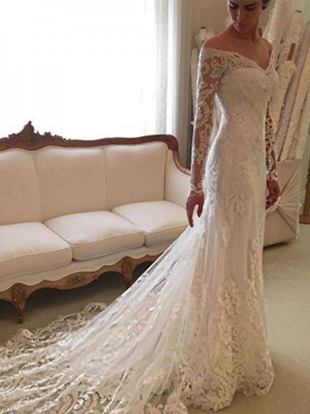 ba7ec0d3269 Sheath/Column Long Sleeves Lace Off-the-Shoulder Court Train Wedding Dresses