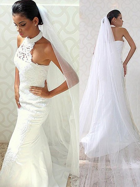 Trumpet/Mermaid Halter Sweep/Brush Train Satin Sleeveless Wedding Dresses