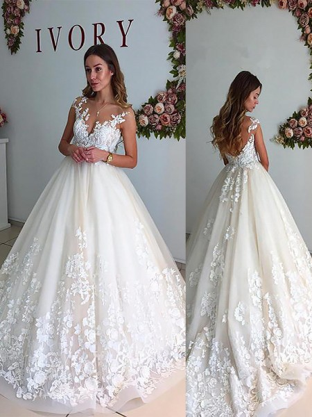 A-Line/Princess V-neck Court Train Tulle Sleeveless Wedding Dresses