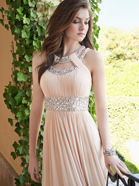 A-Line/Princess Beading Chiffon Floor-Length Sleeveless Dresses