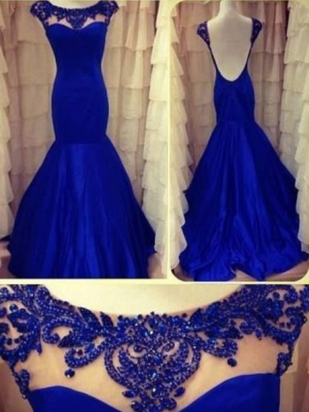 Trumpet/Mermaid Taffeta Beading Sleeveless Floor-Length Dresses