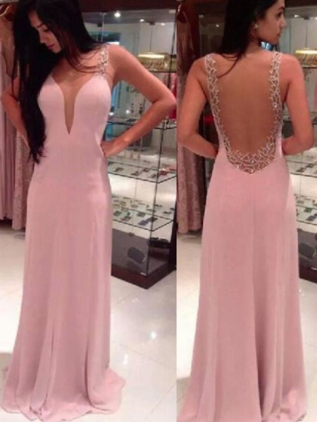 A-Line/Princess Chiffon Beading Floor-Length Sleeveless Dresses