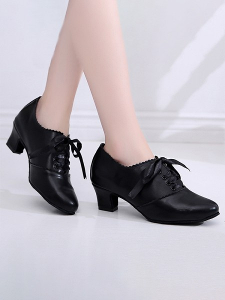 Women's Leatherette Closed Toe With Lace-up Chunky Heel High Heels